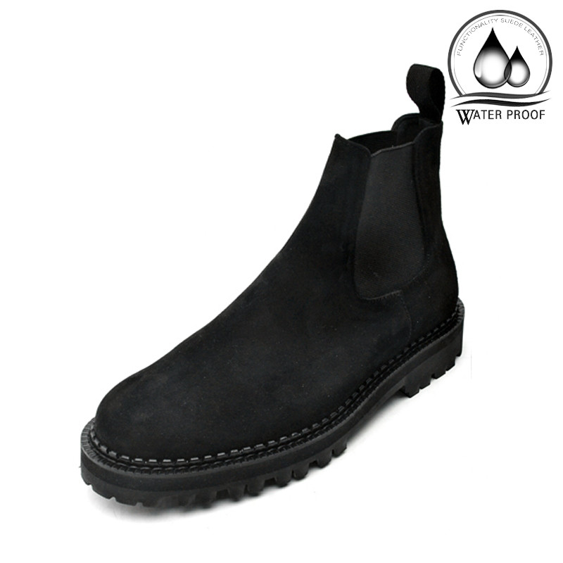 8cm半透明羊毛平底鞋切尔西靴手工鞋(Michael_EL0130SBK)