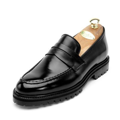 7cm复古/经典皮革便士活套手工鞋(EL0134BK)