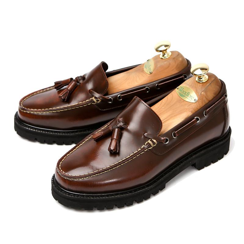 7cm真正咖啡色测试仪looper手工鞋(EL0135RBR)