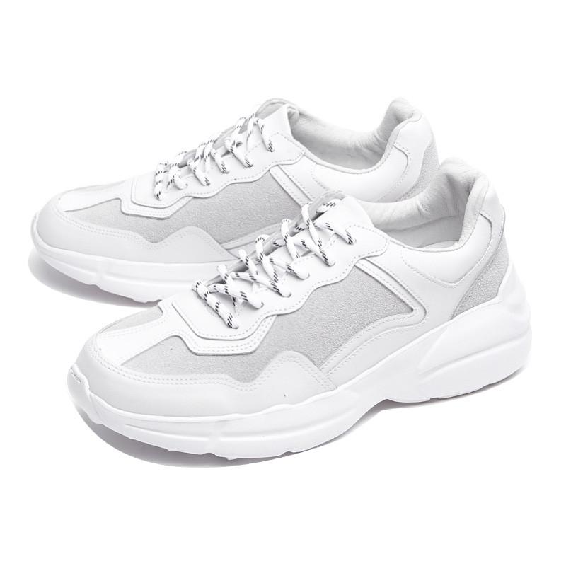 7cm白色皮革胶底帆布鞋(CL0028)