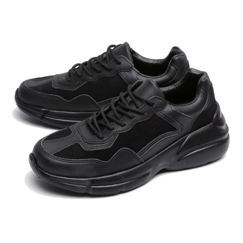 7cm黑色皮革胶底帆布鞋(CL0028BK)