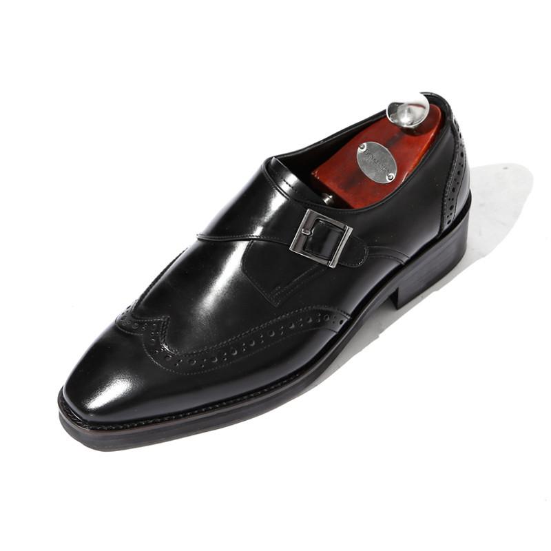 7.5cm翼尖一扣手挽带手工鞋(EL0182BK)