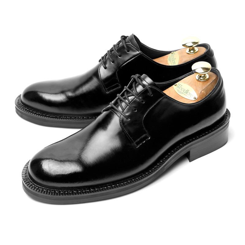 7.5cm纯德比皮鞋手工鞋(标准_EL0185BK)