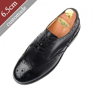 6.5cm增高鞋Wingtip Medallion Derby手工鞋(EL0014BK)