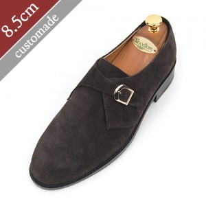 8.5cm增高鞋Oxford Monk Strap Plain手工鞋(EL0004DBR)