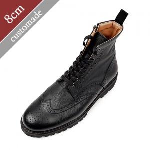 8cm增高鞋Wingtip刺绣突击队马丁靴手手工皮鞋(EL0104COBK)