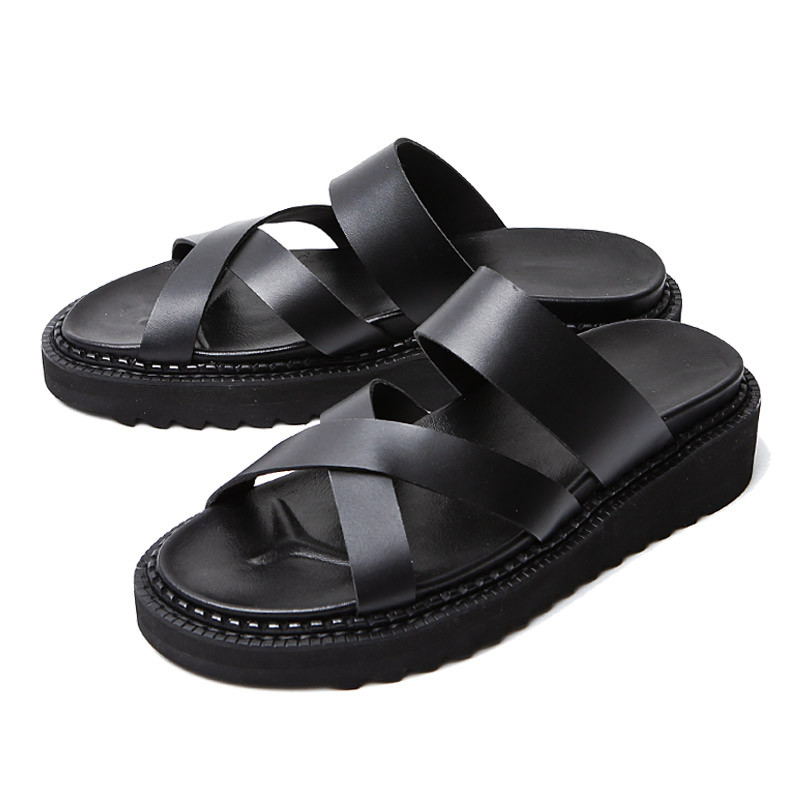 5cm交叉线手手工皮鞋凉鞋(EL0189BK)