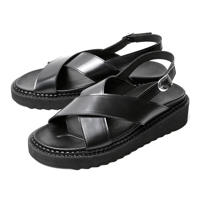 5cm交叉带/束带手工皮鞋凉鞋(EL0188BK)